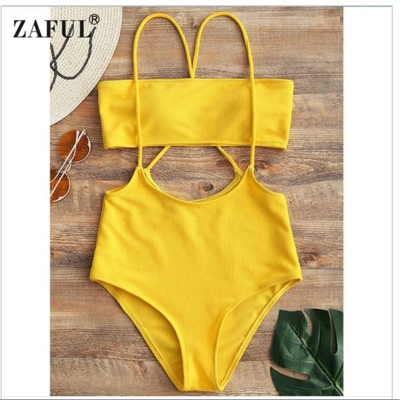 689d9dbc95303 Zaful Swim | Yellow High Waist Tube Top Bikini Sz 4 | Poshmark